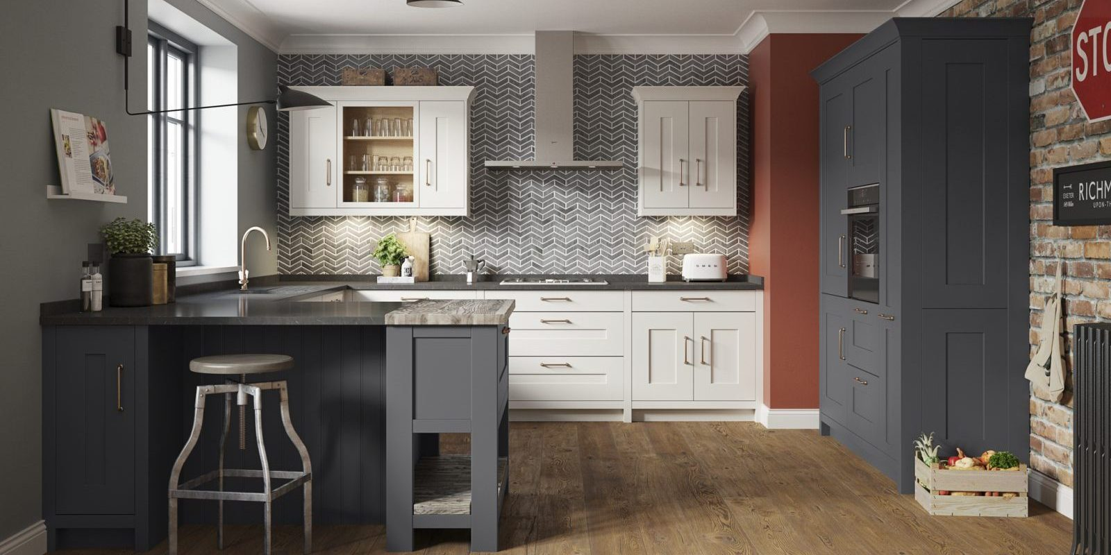 Fitzroy Graphite and Dove Grey Shaker style kitchen